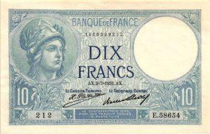 10 francs minerve