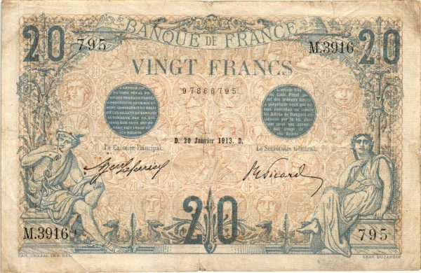 20 Francs Bleu