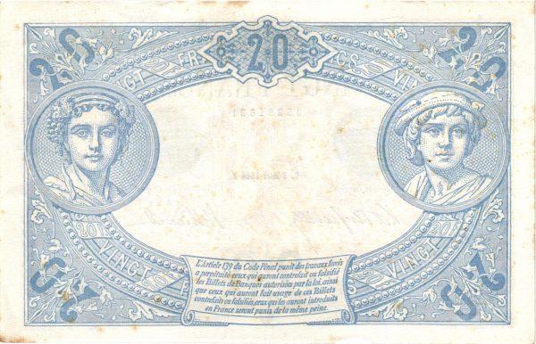 Verso 20 Francs Bleu
