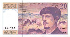 20 Francs Debussy fil de sécurité