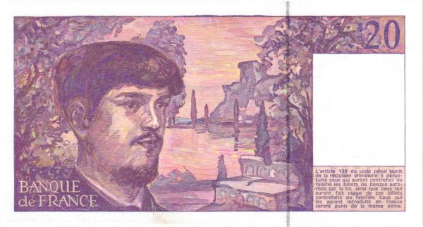 Verso 20 Francs Debussy fil de sécurité