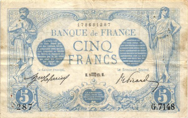 5 Francs Bleu