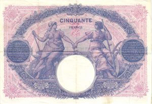 Verso 50 Francs Bleu et Rose