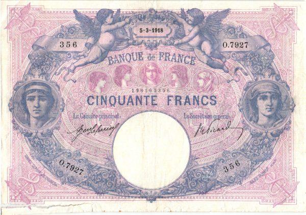 50 Francs Bleu et Rose