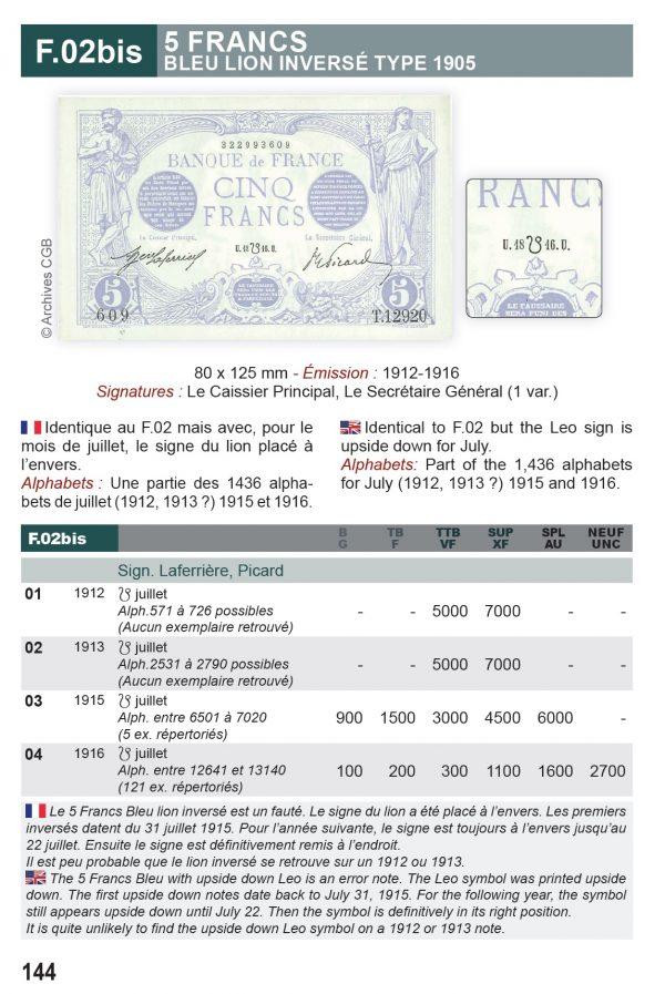 La cote des billets de la Banque de France et du Trésor Fayette