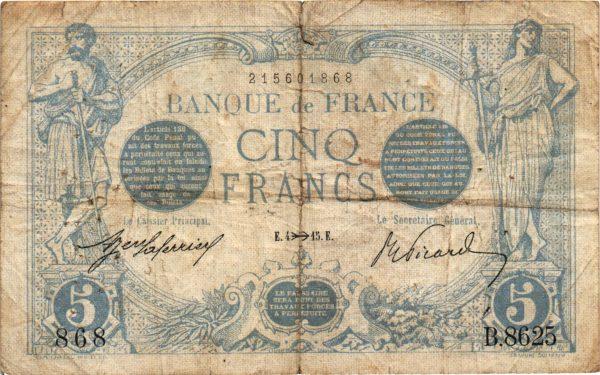 Billet de 5 Francs Bleu