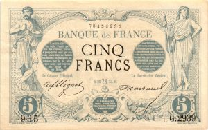 billet 5 francs noir