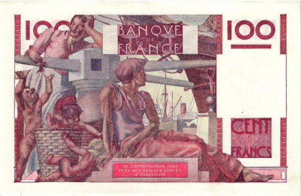Verso 100 Francs Jeune Paysan