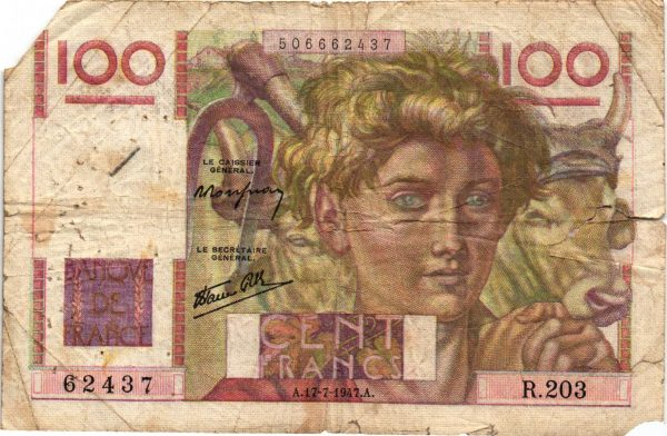 100 Francs Jeune Paysan Favre Gilly
