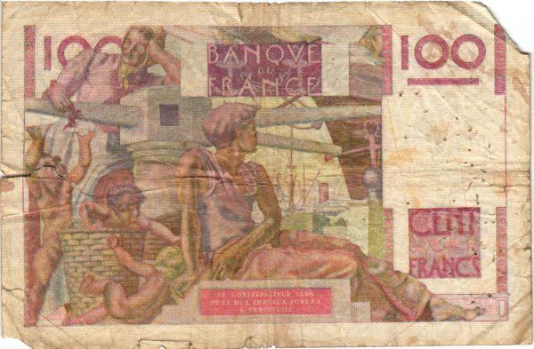 Verso 100 Francs Jeune Paysan Favre Gilly