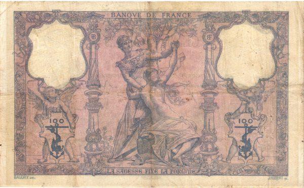 Verso 100 Francs Bleu et Rose