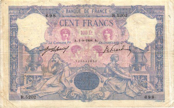 100 francs bleu et rose