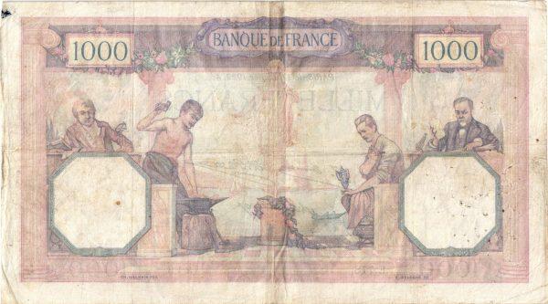 Verso 1000 Francs Cérès et Mercure