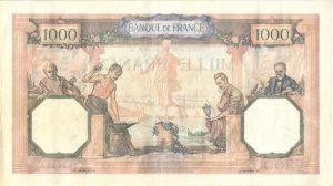 Verso 1000 Francs Cérès et Mercure Modifié