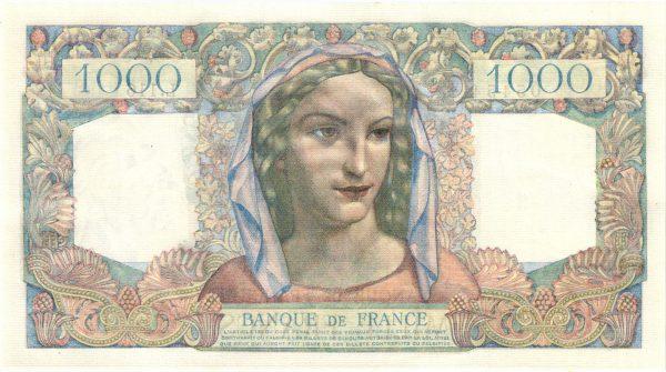Verso 1000 Francs Minerve et Hercule