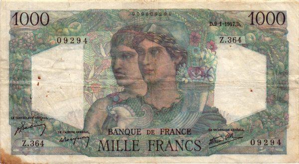 1000 Francs Minerve et Hercule