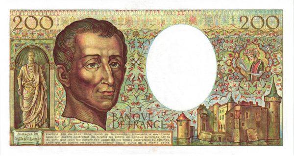 Verso 200 Francs Montesquieu