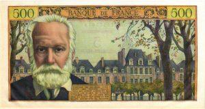 Verso 5 NF sur 500 Francs Victor Hugo