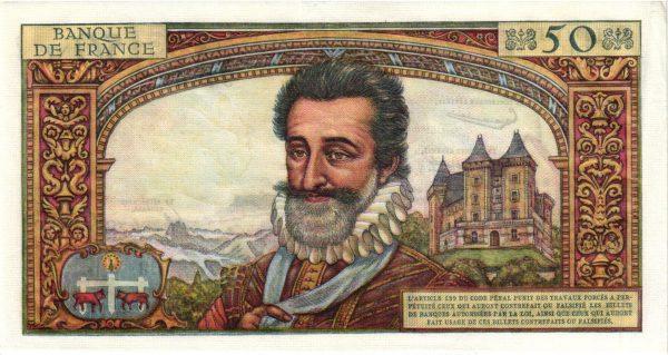 Verso 50 Nouveaux Francs Henri IV