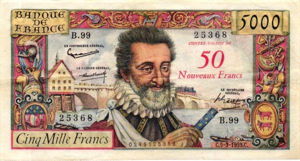 50 NF sur 5000 Francs Henri IV