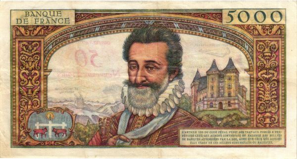 Verso 50 NF sur 5000 Francs Henri IV