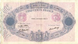 500 Francs Bleu et Rose