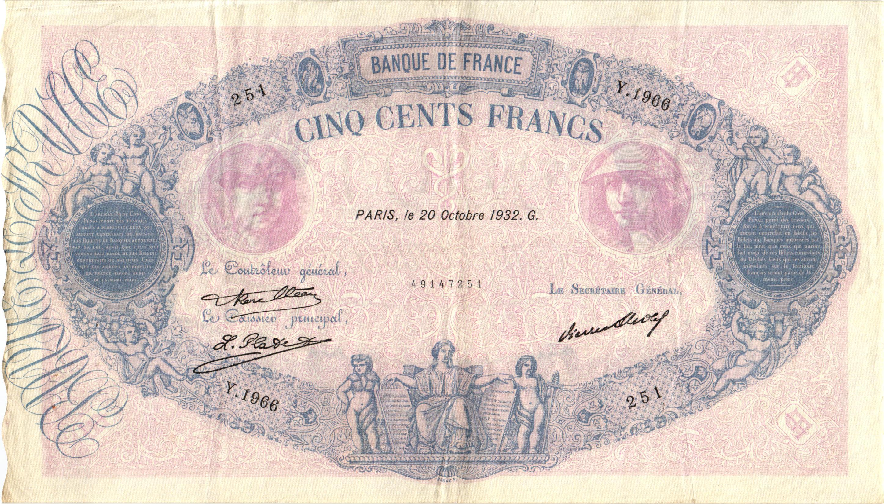 500 Francs Bleu Et Rose Billet De Collection Banque De France
