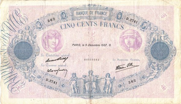 500 Francs Bleu et Rose Modifié