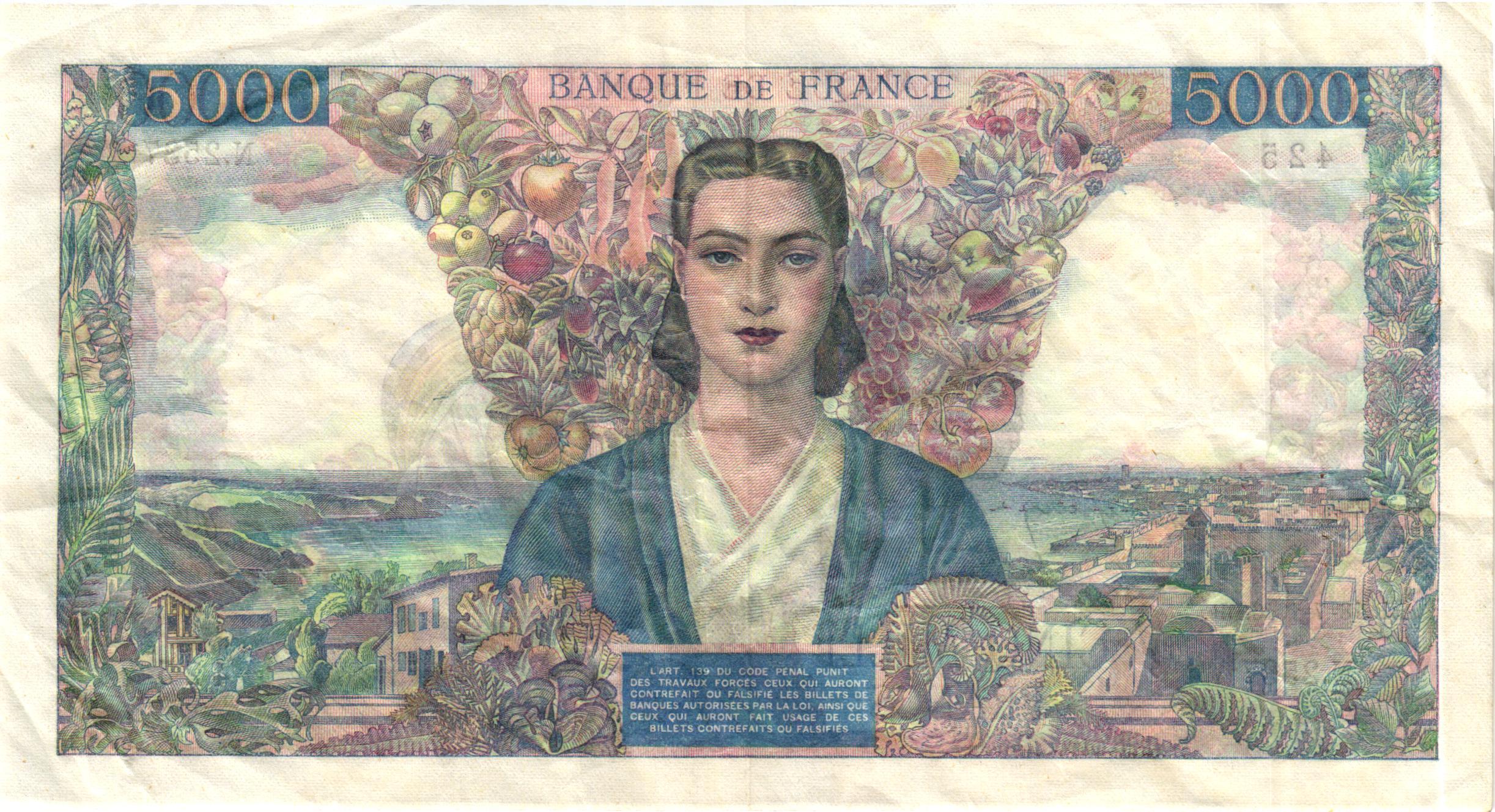 Verso 5000 Francs Empire Français