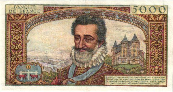 Verso 5000 Francs Henri IV