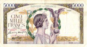 5000 Francs Victoire Impression a plat