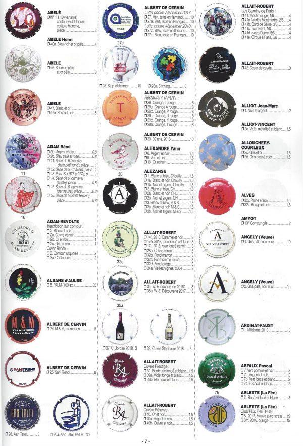 Catalogue Lambert sur les capsules de champagne