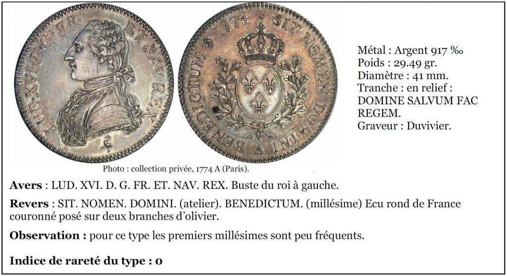 Louis XVI - Ecu aux branches d'olivier