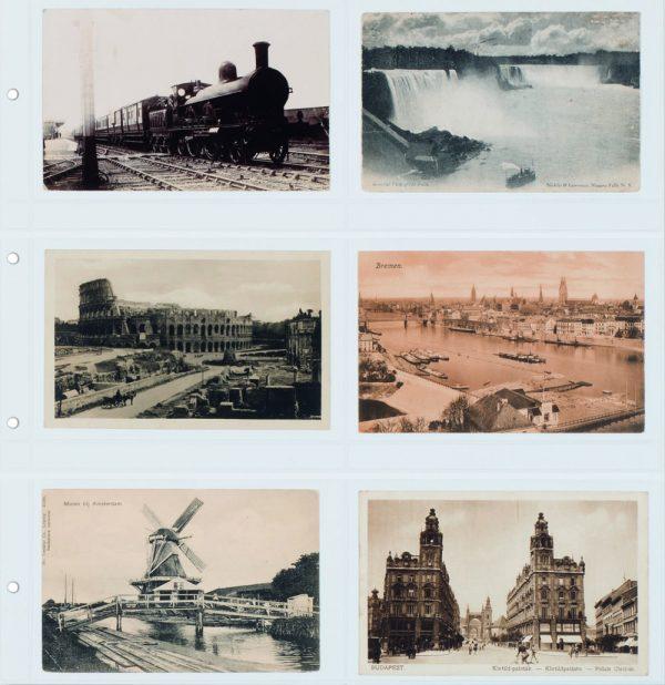 feuille carte postale ancienne blanche horizontale