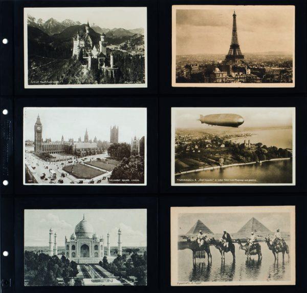 feuille carte postale ancienne noire horizontale