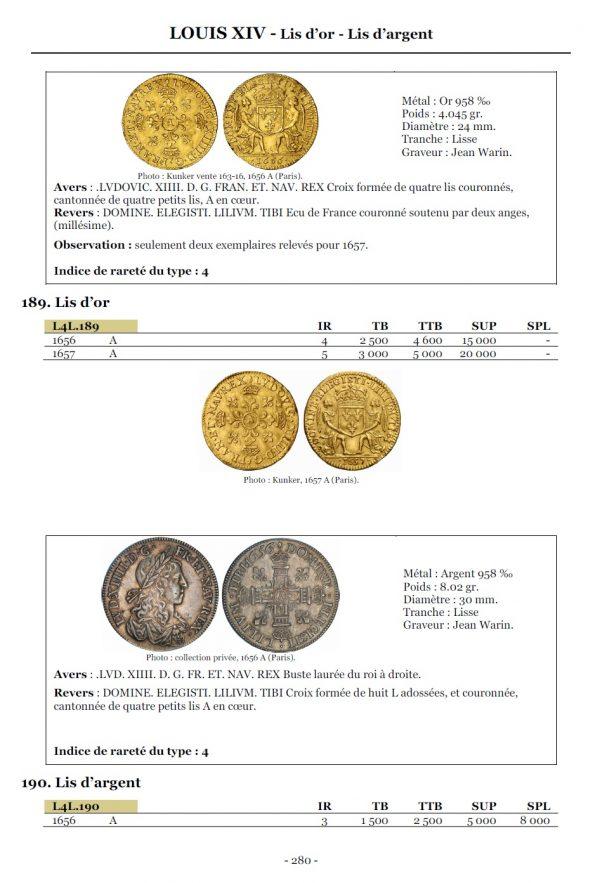 La cote des monnaies royales