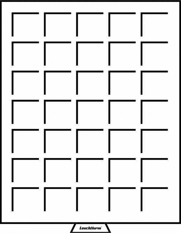 Médaillier 35 compartiments carrés jusqu'à 35 mm