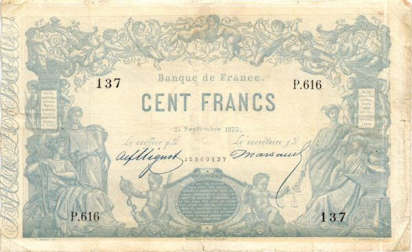 """100 FRANCS Type 1862 """"INDICES NOIRS"""""""
