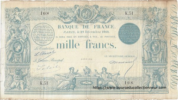 "1000 Francs Type 1862 ""Indices noirs"""