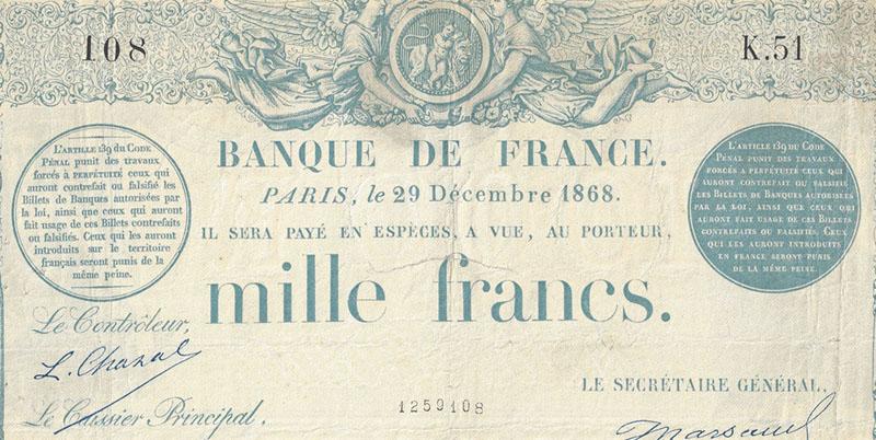1000 Francs Type 1862