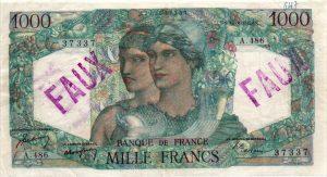 1000 Francs Minerve et Hercule FAUX