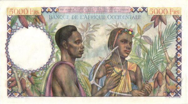 AFRIQUE OCCIDENTALE FRANÇAISE - Billet de 5000 Francs 1950