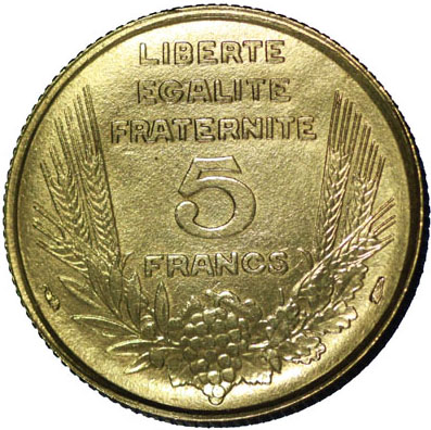 Revers 5 Francs Bazor ESSAI Grand module 1933