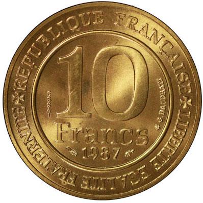 Verso 10 Francs Millénaire Capétien ESSAI 1987