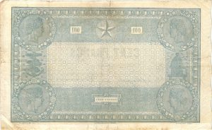"""Verso 100 FRANCS Type 1862 """"INDICES NOIRS"""""""