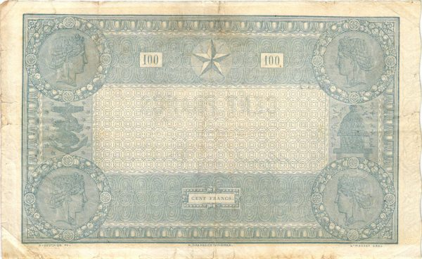 "Verso 100 FRANCS Type 1862 ""INDICES NOIRS"""