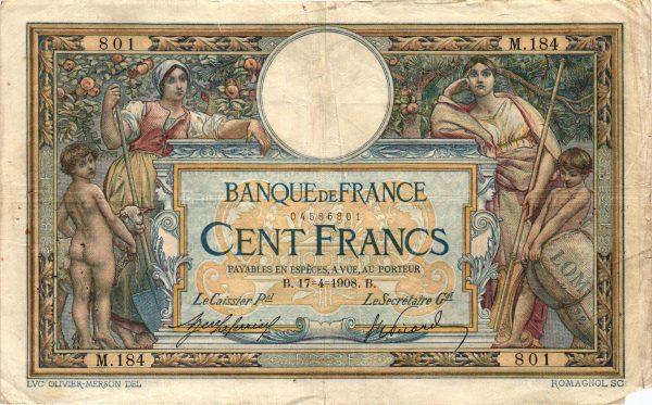 Billet 100 Francs Luc Olivier Merson avec LOM 02