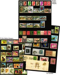 Feuilles à bandes timbres de collection