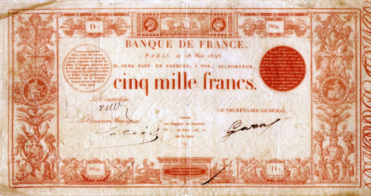 5000 Francs ROUGE type 1846