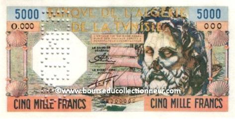 5000 Francs Algérie réserve Neptune type 1956
